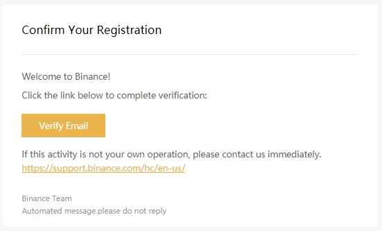 Registrering hos Binance